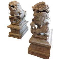 Granite Chinese Foo Dogs, circa 1850 | From a unique collection of antique and modern statues at https://www.1stdibs.com/furniture/building-garden/statues/