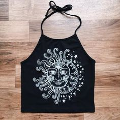 Sun and Moon Halter Crop Top Festival Fashion Boho Top Gypsy Style Outfit