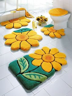 badmatte fliesenboden badteppiche badvorleger set blumen