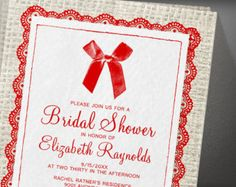 Red Country Burlap Bridal Shower Invitation