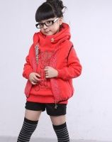 Korean Style Letters Printing Thicken Two-piece Coat Red