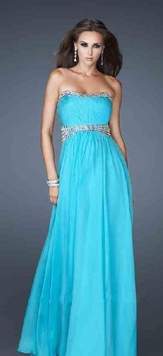 Sexy A-Line Tube Chiffon Light Sky Blue Sleeveless Evening Dresses Prom Dress Prom Dresses lkxdresses64892uygf #prettydresses #promdress
