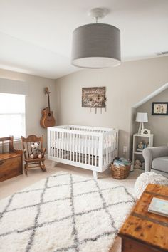 Modern Vintage Nursery - we love the soft, neutral colors and on-trend accents!