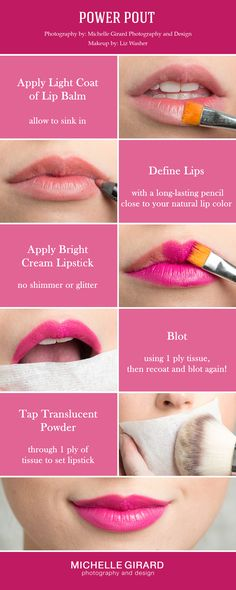 How to apply a Bold Pink Powerful Lip Makeup Tutorial ::  Red Carpet Makeup Look :: Wedding Makeup to make a statement :: Seen on Style Me Pretty :: Michelle Girard Photography & Design