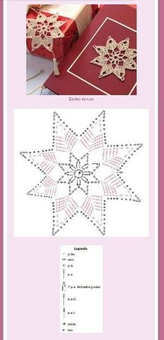 Star or Snowflake Ornament Crochet Thread Patterns, Crochet Snowflake Pattern, Crochet Stars, Crochet Motifs, Crochet Snowflakes, Crochet Diagram, Filet Crochet, Crochet Doilies, Crochet Flowers
