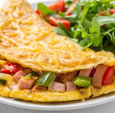 Omelett mit Hühnchen, Paprika und Rucolasalat mit Tomaten Tags: