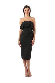 GREENE DRESS  was $340 now $102  MESH SCUBA STRAPLESS MIDI DRESS WITH RUFFLE FRONT PANEL FROM BUST LINE TO HEM. RUFFLE WRAPS AROUND TO BACK OF THE DRESS ON ONE SIDE, HIDDEN BACK ZIPPER WITH VENT AT THE HEM. RUFFLES ADD THE PERFECT FEMININE TOUCH TO THIS TIMELESS STYLE.