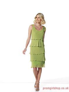 Tea-length Off-the-shoulder scoop chiffon green Mother of The Bride Dresses PGMD0054