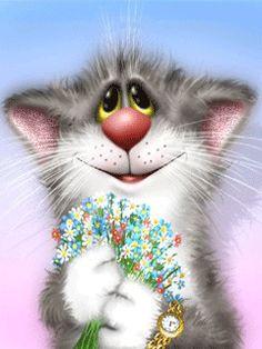 Flowers 4 u♡♡♡♡♡ Animals And Pets, Baby Animals, Cute Animals, Cartoon Art, Cute Cartoon, Image Chat, Photo Chat, Animation, Here Kitty Kitty