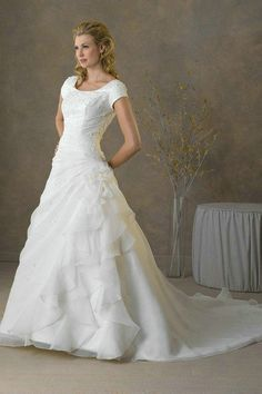 A Line Girdling Waist Ruffles Short Sleeves Wedding Dresses 2 - some of details are pretty, like the ruffles and gathering, but not the sleeves
