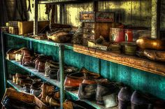 These shoes have been waiting for repair since the Cobbler who owned this shop died in 1976. I was allowed to go inside and photograph the interior of his shop. Everything is just as the cobbler left everything when he left for the last time. It was like walking back into time.