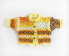 Knitted Baby Jacket  White Yellow Orange and by SasasHandcrafts