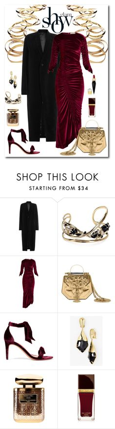 """""""Preen by Thornton Bregazzi Ruched Velvet Dress Look"""" by romaboots-1 ❤ liked on Polyvore featuring Rene, Rick Owens, Alexis Bittar, Preen, Okhtein, Alexandre Birman, By Terry, Tom Ford and Christian Louboutin"""