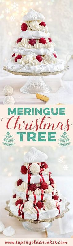 Meringue Christmas tree with whipped coconut cream, raspberries and white chocolate truffles - Christmas recipes