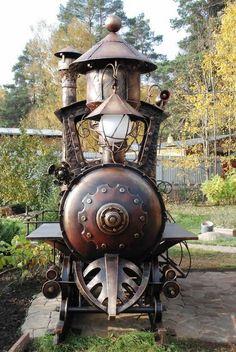 Artisanat: Ils ont fabriqué un barbecue-locomotive!