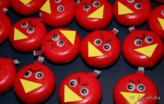 Angry birds gemaakt van mini kaasjes