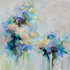 """Blue Fusion"" 18x18 An original abstract floral painting. www.karenhale.com to see more"