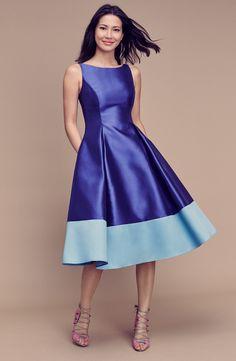 Colorblock Mikado Fit & Flare Dress