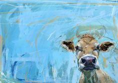 How could I not love a painting that mixes blue and a Jersey cow?  Painting by James Bartholomew