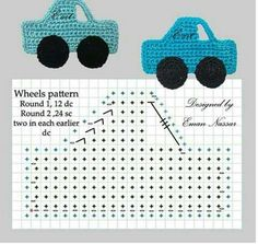 CROCHET SHAPES CAR AUTOMOBILE APPLIQUÉ WITH DIAGRAM GRANNY SQUARE | ~~https://www.pinterest.com/bonniebuchanan~~