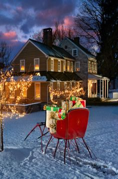 Christmas Sleigh At The Farm House
