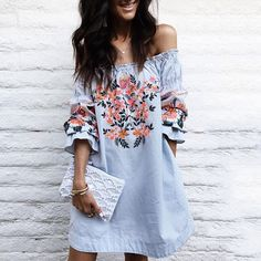 Cheap robe femme ete, Buy Quality casual dress women directly from China casual dress Suppliers: CWLSP Slash Neck Casual Dresses Women Half Lantern Sleeve Party vestidos mujer Floral Print Loose robe femme ete 2017 Boho Outfits, Summer Outfits, Summer Dresses, Mini Dresses, Floral Dresses, Floral Lace, Party Dresses, Dress Outfits, Ruffled Dresses