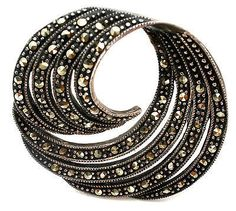 Swirled Marcasite Sterling Silver Round Brooch Round Pin