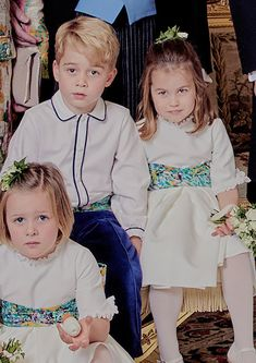 """thecambridgees: """""""" ↳ Prince George and Princess Charlotte in the official portraits released by The British Royal Family to mark the Wedding of Princess Eugenie and Mr Jack Brooksbank."""