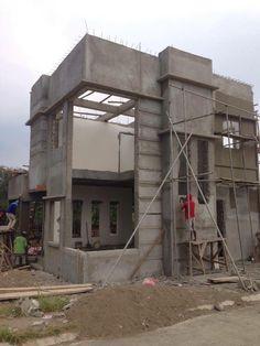 constructions 3 Storey House Design, Bungalow House Design, Modern House Design, Front Elevation Designs, House Elevation, House Front Wall Design, House Under Construction, Dream House Plans, Architecture Plan
