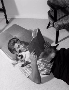 Michael Landon with his cat