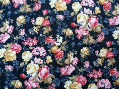 CP0323 Black vintage cotton fabric pink yellow roses flowers Rose and Hubble wedding summer skirts/dress sewing patchwork quilting Fabric