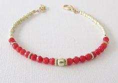 Red Coral Bracelet Personalized Bracelet by wearitpersonalized