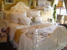 Shabby Chic white and ivory bedroom gold, love the white ruffles :) Shabby Chic Bedrooms, Cozy Bedroom, Bedroom Decor, Romantic Bedrooms, Pretty Bedroom, Bedroom Ideas, French Bedrooms, Cottage Bedrooms, Bedroom Images