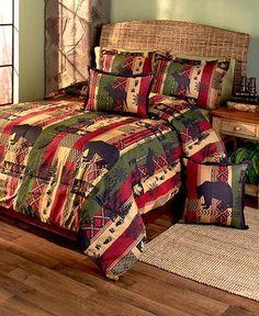 Rustic Primitive Lodge Comforter Set Bear Deer Silhouettes Twin Full/Queen King