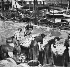 The herring girls demonstrating the hard work they had to do in order to gut the… Great Yarmouth, North Yorkshire, Vintage Photographs, Fishing Boats, Old Pictures, Historical Photos, The Past, Old Things, Coast