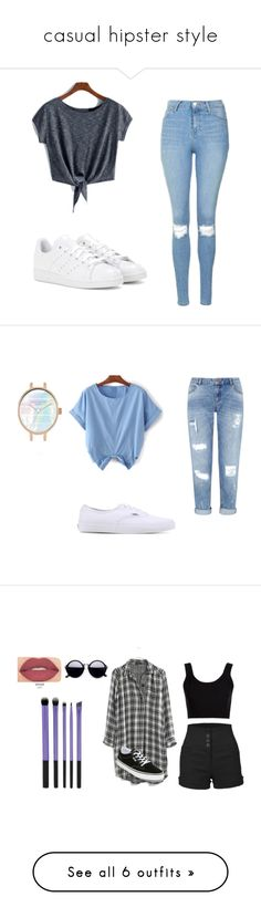 """casual hipster style"" by snehalgaikar ❤ liked on Polyvore featuring adidas, Topshop, Miss Selfridge, Vans, Madewell, Smashbox, Calvin Klein Collection, LE3NO, Converse and Kate Spade"