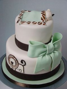 Safari Baby Shower Cake In White Light Green And Dark Brown With Safari Baby Shower Cake, Baby Shower Cakes For Boys, Baby Shower Themes, Baby Boy Shower, Shower Ideas, Baby Showers, Cupcakes, Cupcake Cakes, Safari Cakes