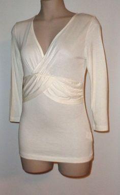 NWT BANANA REPUBLIC Cross Bodice Jersey Knit Tunic S Ivory #BananaRepublic #Tunic