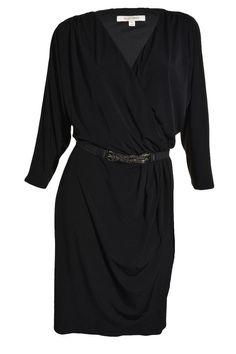 Ellen Tracy Surplice Dress Belt Pleated Medium 3/4 Sleeve Knee Length Black NEW #EllenTracy #Sheath #WeartoWork