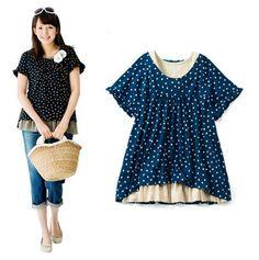 日本原单 亲子装 母女 显瘦 短袖上衣 T恤 森女系 w closet-淘宝网