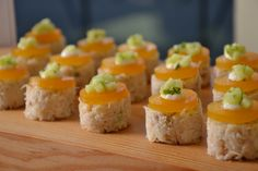Crab Cake with Passion Fruit Gelee #culinarycapers #canape #horsdoeuvre #catering http://www.culinarycapers.com/ Photo: John C. Watson