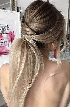 Ideas hair styles fancy updo up dos for 2019 - DIY Hochzeit Frisuren Dinner Hairstyles, Easy Hairstyles For Long Hair, Elegant Hairstyles, Ponytail Hairstyles, Bride Hairstyles, Straight Hairstyles, Cool Hairstyles, Hairstyle Ideas, Christmas Hairstyles