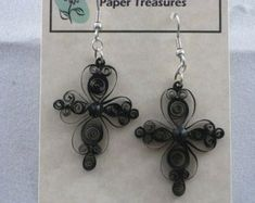 Items similar to Lacy Cross Earrings on Etsy Paper Quilling Jewelry, Paper Jewelry, Jewelry Crafts, Origami, Acrylic Spray, Paper Frames, Cross Earrings, Etsy Earrings, Jewelery