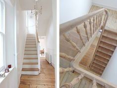 Houten-trap-wit-14 Wooden Staircases, Stairways, Interior Stair Railing, Small Hallways, House Siding, House Stairs, Shabby, House Entrance, Big Houses