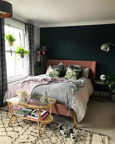 Beautiful botanical and dark blue bedroom with grey, blush and metallic accents. Calm and cosy bedroom space. Beautiful botanical and dark blue bedroom with grey, blush and metallic accents. Calm and cosy bedroom space. Teal Bedroom Accents, Dark Teal Bedroom, Pink Bedroom Decor, Cosy Bedroom, Bedroom Paint Colors, Bedroom Green, Master Bedroom, Bedroom Ideas, Bedroom Neutral