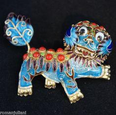 Chinese Export Sterling Silver Gilt Enamel Foo Dog Coral Pin Vintage Blue Gold | eBay $124+44