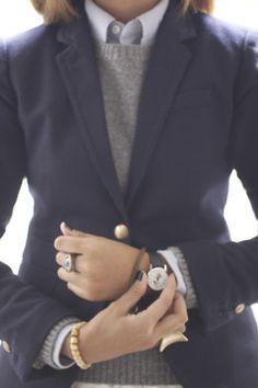 The navy blazer.