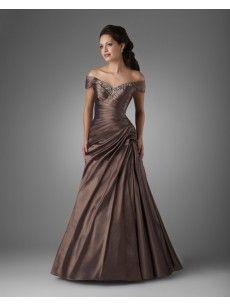 Buy Off the Shoulder Pleated Taffeta A Line Mother of the Bride Dresses | OKmarket.com #mother #bride #dress