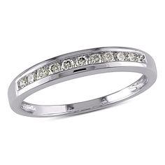 Delmar Jewelers 10K White Gold 0.24ctw White Diamond Semi-Eternity Band Ring