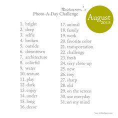 August Photo-A-Day Challenge 2015-Photography Ideas | theidearoom.net